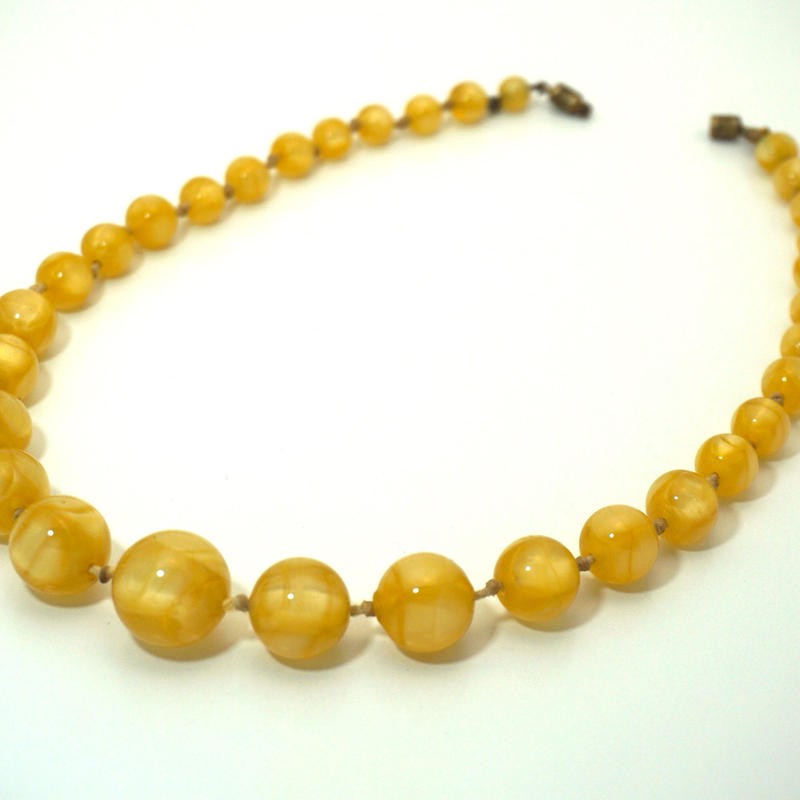 Maybe 20-30s Vintage Glass Beaded Necklace  Yellow《送料無料》