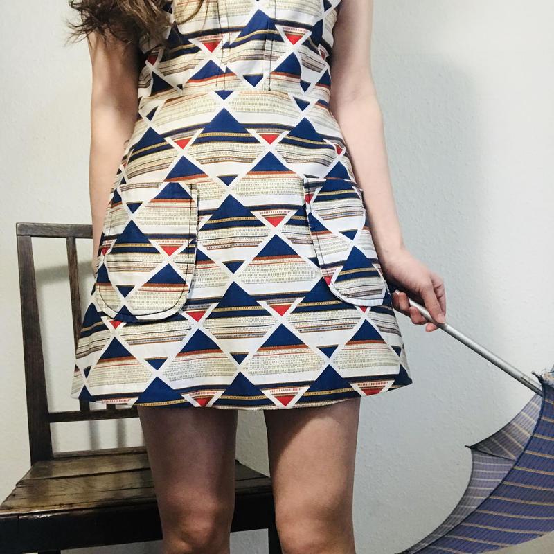 60s Multi pattern Cotton Dress  (no.384)