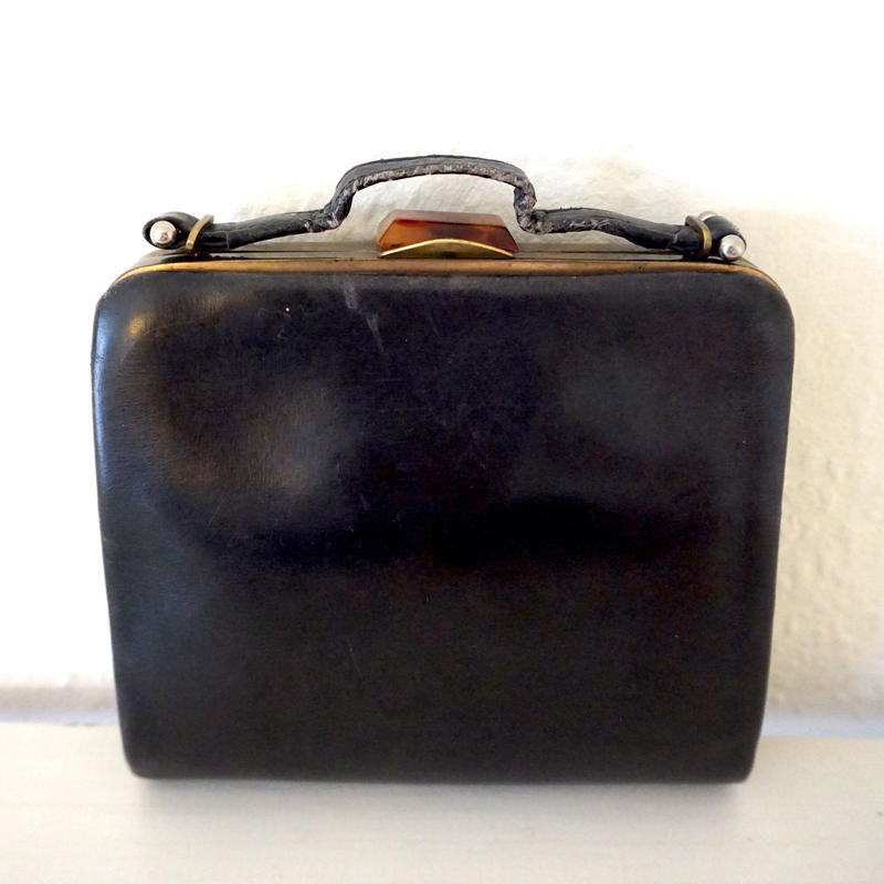 1930s Vintage Leather Hnadbag Black