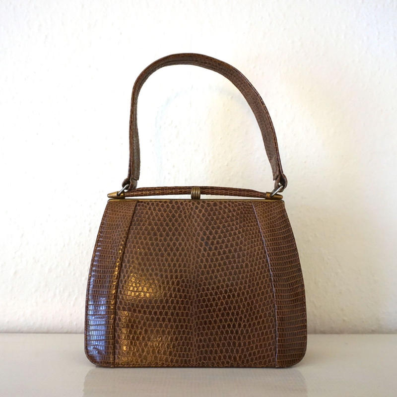 1940s Vintage Lizard Hnadbag Brown