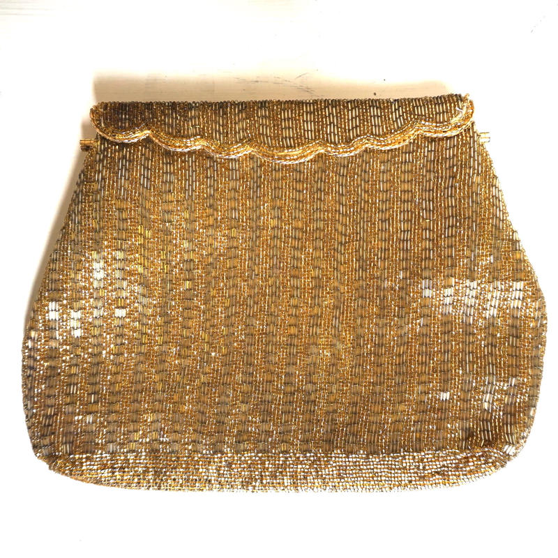 Maybe 70s 80s  Gold Beaded Vintage Purse