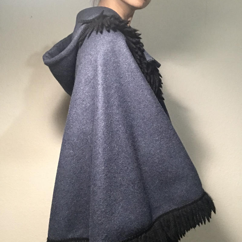 Vintage Indigo Blue Wool Cape  (no.283)