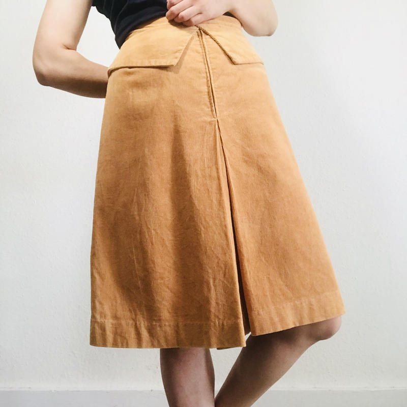 1970s Corduroy Yellow Skirt
