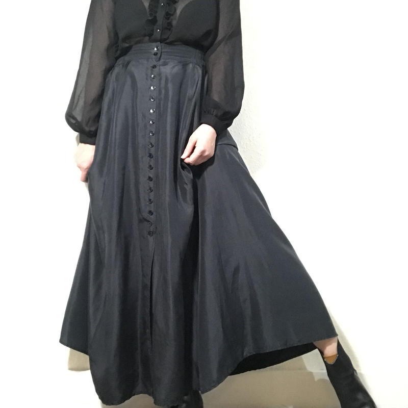Silk Long-skirt Black (no.449)