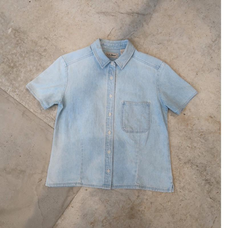 90's L.L.Bean S/S Denim Shirt For Women