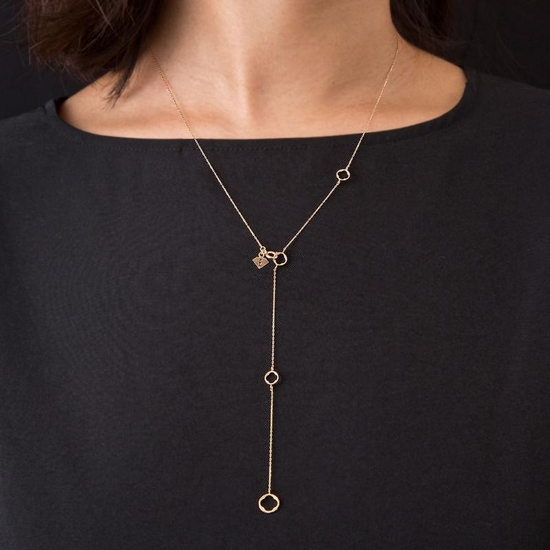 10金サークルYネックレス[Elenore Jewelry ]