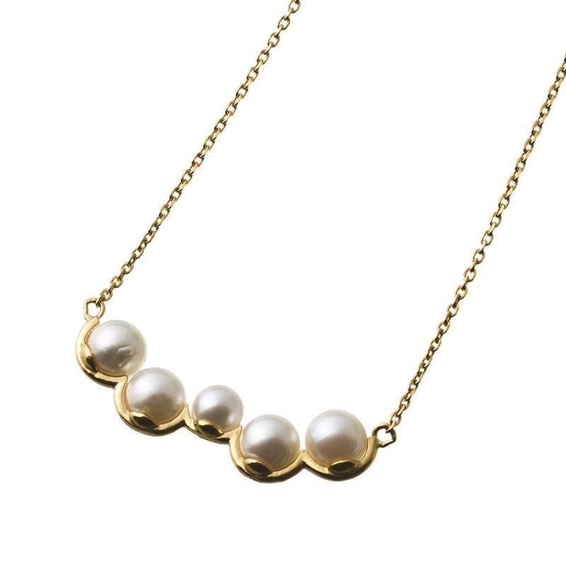 【即納可能!】天然真珠!ランダムパールバーネックレス(K18メッキ)