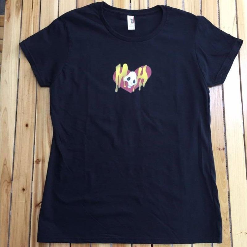 『蛇骨堂オリジナル』 ハートドクロTシャツ黒/白