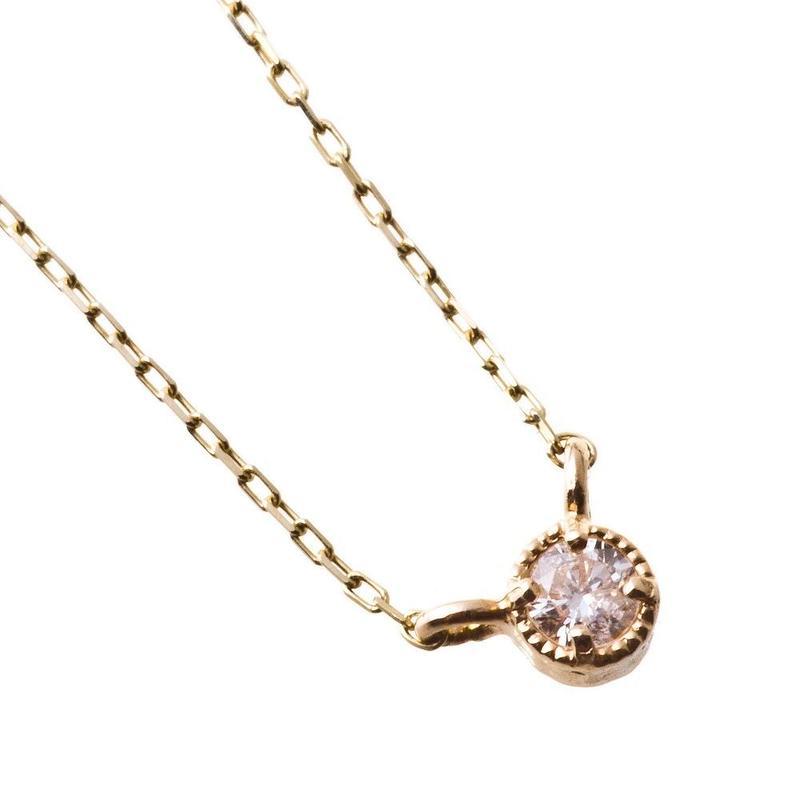 10金一粒天然ホワイトトパーズペンダント[Elenore Jewelry ]