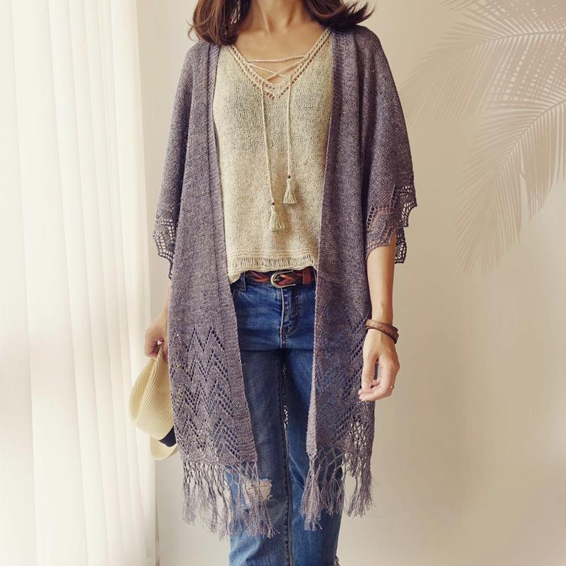 [K2tog] K19-005 Fringed Kimono (S-M size)