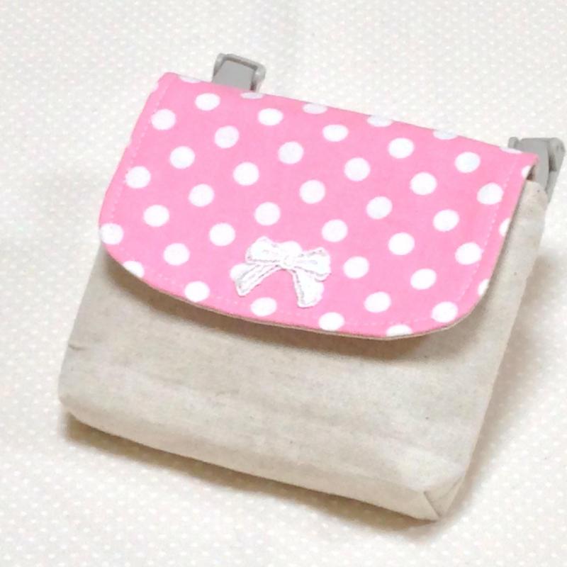 1つポケットの移動ポケット*ピンク水玉×リボンモチーフ