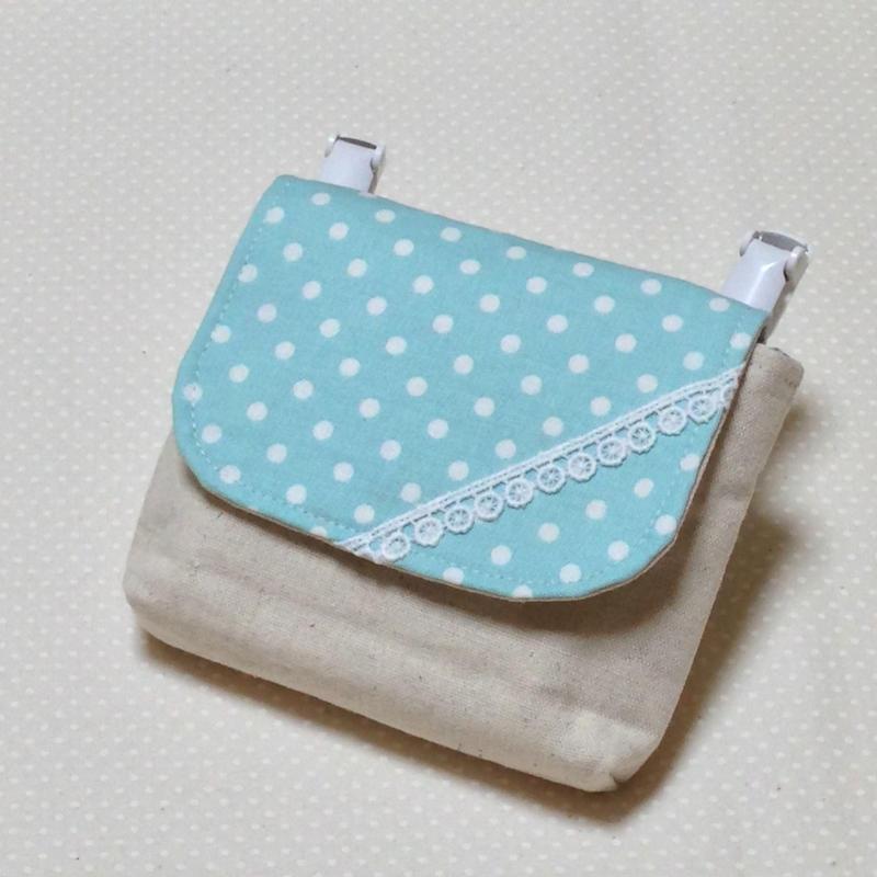1つポケットの移動ポケット*水色水玉×レース