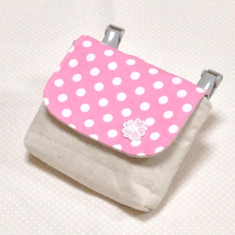 1つポケットの移動ポケット*ピンク水玉×お花モチーフ