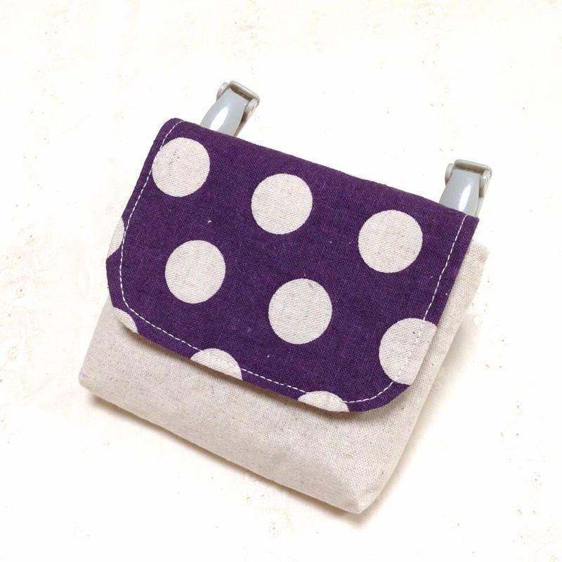 1つポケットの移動ポケット*ダークパープルコインドット