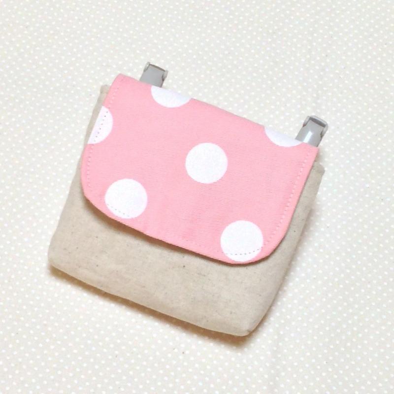 1つポケットの移動ポケット*ベビーピンク×大きな水玉