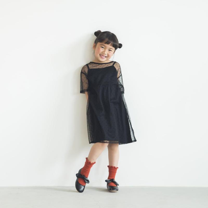 【 KIDS / Lil kaene 】700003(S) 700004(M.L) / ドットチュールワンピース