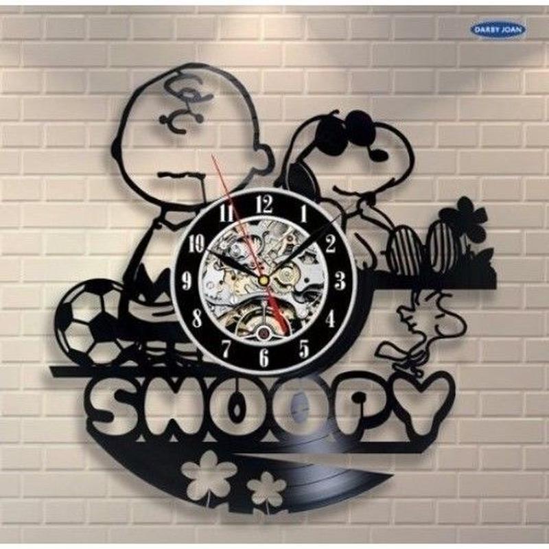輸入雑貨 スヌーピー 30cm レコード盤 壁掛け時計 アニメ 映画 人気  インテリア ディスプレイ 2種類展開 スヌーピーサッカー