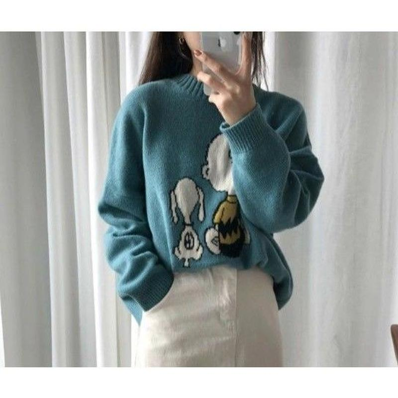 Snoopy 輸入雑貨 スヌーピー  秋冬セーター ニットプルオーバー 4色展開 ブルーグリーン