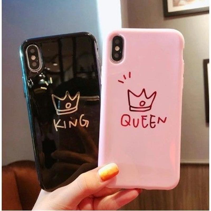 輸入雑貨 シンプル KING & QUEEN  iphone XR ケース 最大種類 iphone 8 7 6 6 s-plus スマホケース  ティアラ1