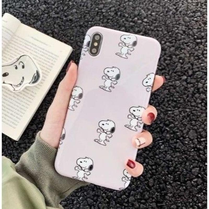 輸入雑貨 スヌーピー ケータイケース snoopy ケータイカバー  iphone XR XsMAX 最大種類 iphone 8 7 6 6 s-plus ミニスヌーピー ホワイトベージュ