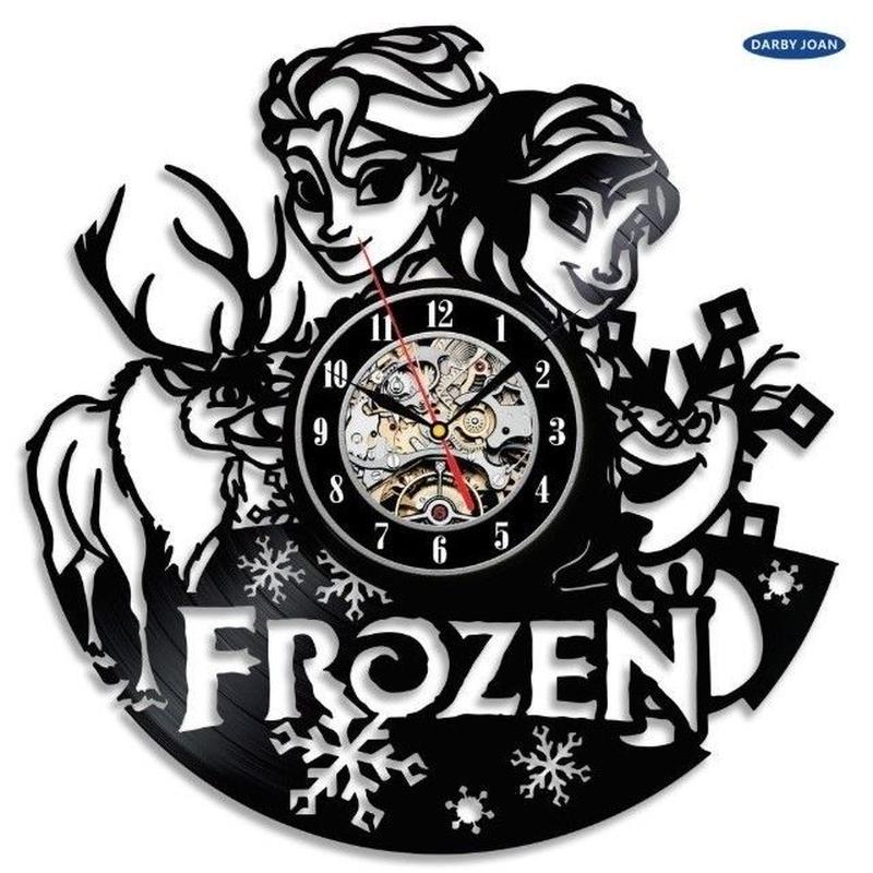 輸入雑貨 アナと雪の女王 30cm レコード盤 壁掛け時計 アニメ 映画 人気  インテリア ディスプレイ