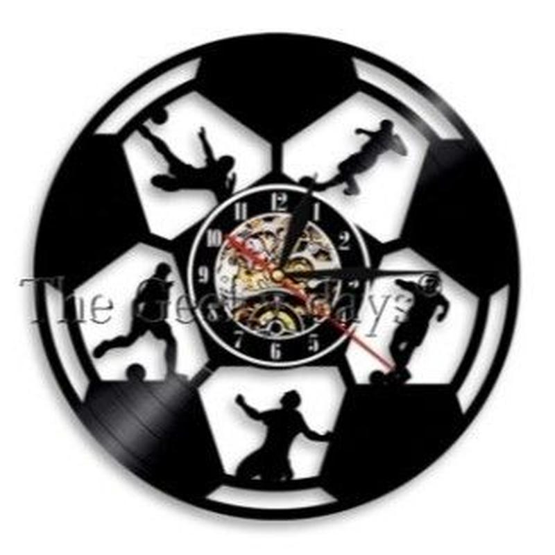 輸入雑貨 サッカー チーム 壁アート ヴィンテージ 30cm レコード盤 壁掛け時計 アニメ 映画 人気  インテリア ディスプレイ 6種類展開 1