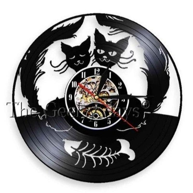 輸入雑貨 黒猫 ネコ 猫 キャット 壁アート ヴィンテージ 30cm レコード盤 壁掛け時計 人気  インテリア ディスプレイ 13種類展開 9