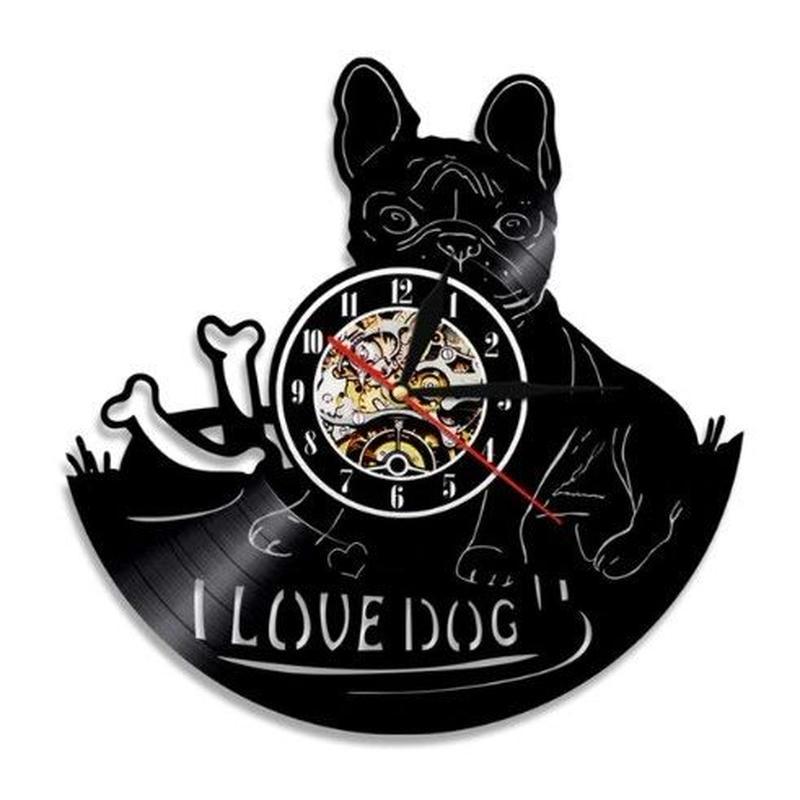 輸入雑貨 フレンチブル ドッグ 犬 Dog 壁アート ヴィンテージ 30cm レコード盤 壁掛け時計 人気  インテリア ディスプレイ 2