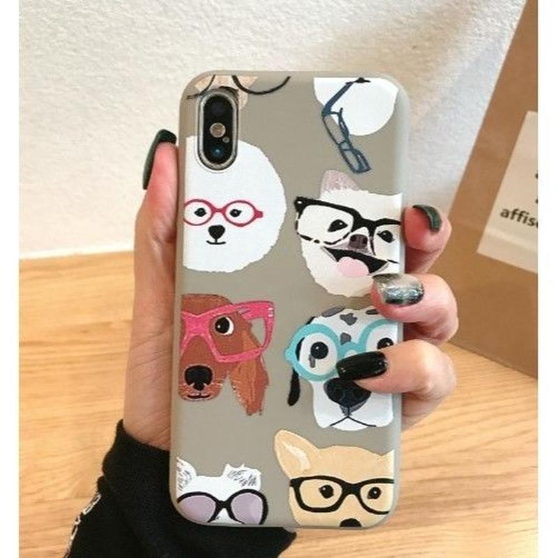 大人気グレー復活‼輸入雑貨 メガネ Dog  犬 ケータイカバー iphone XR XsMAX 最大種類 iphone 8 7 6 6 s-plus メガネ グレー
