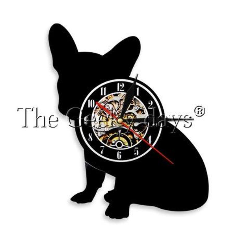 輸入雑貨 フレンチブル ドッグ 犬 Dog 壁アート ヴィンテージ 30cm レコード盤 壁掛け時計 人気  インテリア ディスプレイ 3