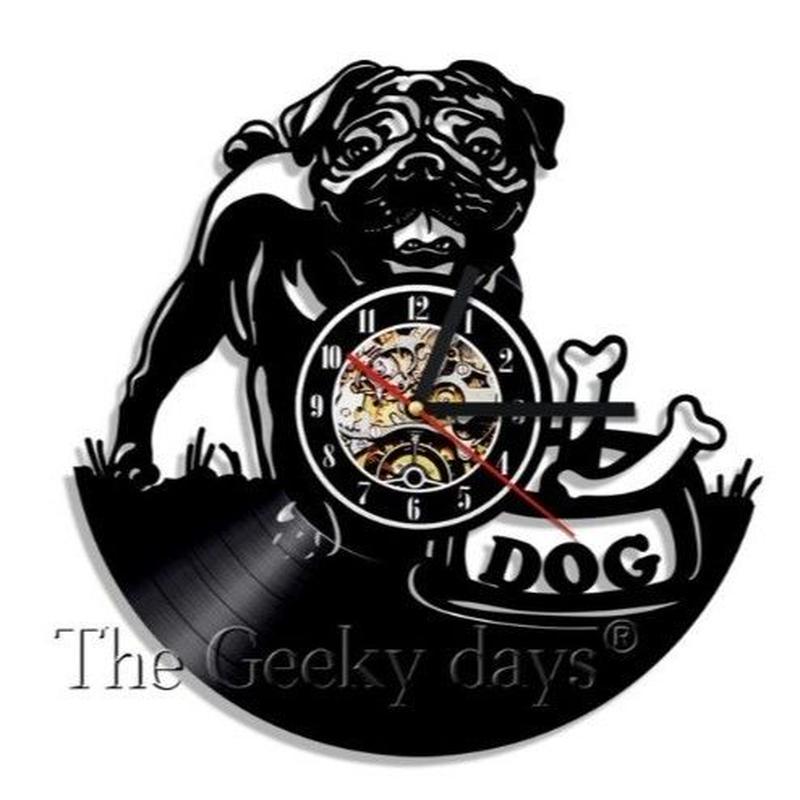 輸入雑貨 パグドッグ 犬 Dog 壁アート ヴィンテージ 30cm レコード盤 壁掛け時計 人気  インテリア ディスプレイ 1