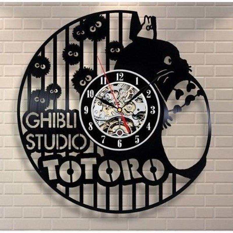 輸入雑貨 トトロ 30cm レコード盤 壁掛け時計 アニメ 映画 人気  インテリア ディスプレイ 2種類展開 2