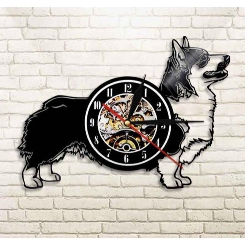 輸入雑貨 コーギー 犬 ドッグ Dog 壁アート ヴィンテージ 30cm レコード盤 壁掛け時計 人気  インテリア ディスプレイ