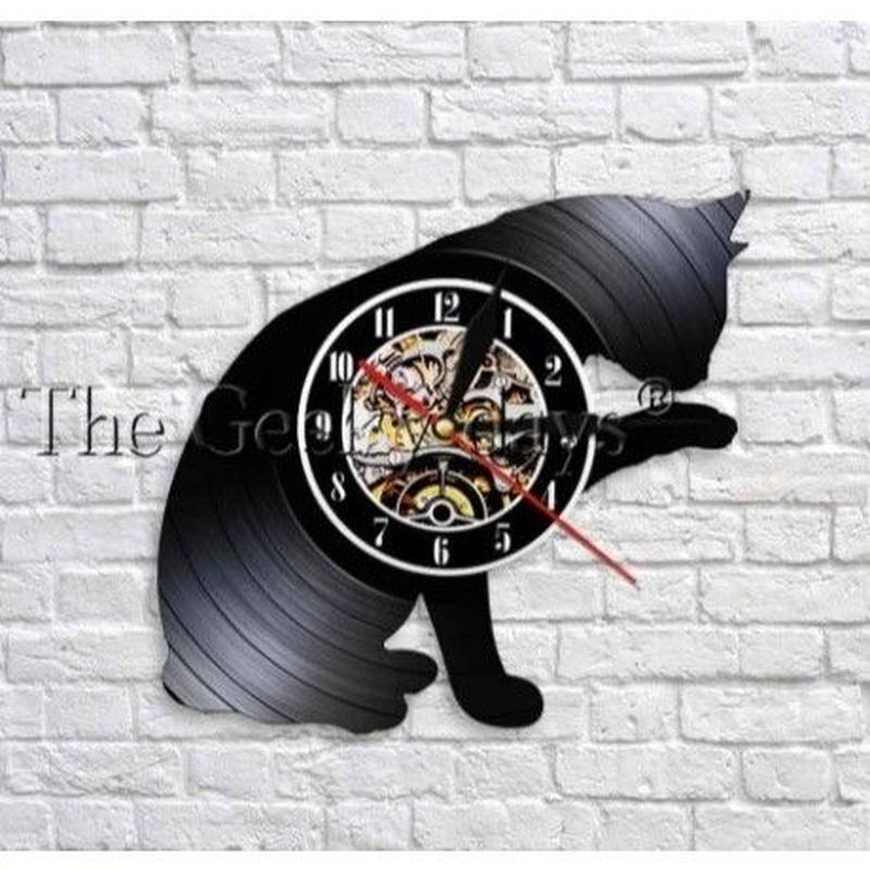 輸入雑貨 黒猫 ネコ 猫 キャット 壁アート ヴィンテージ 30cm レコード盤 壁掛け時計 人気  インテリア ディスプレイ 8種類展開 11