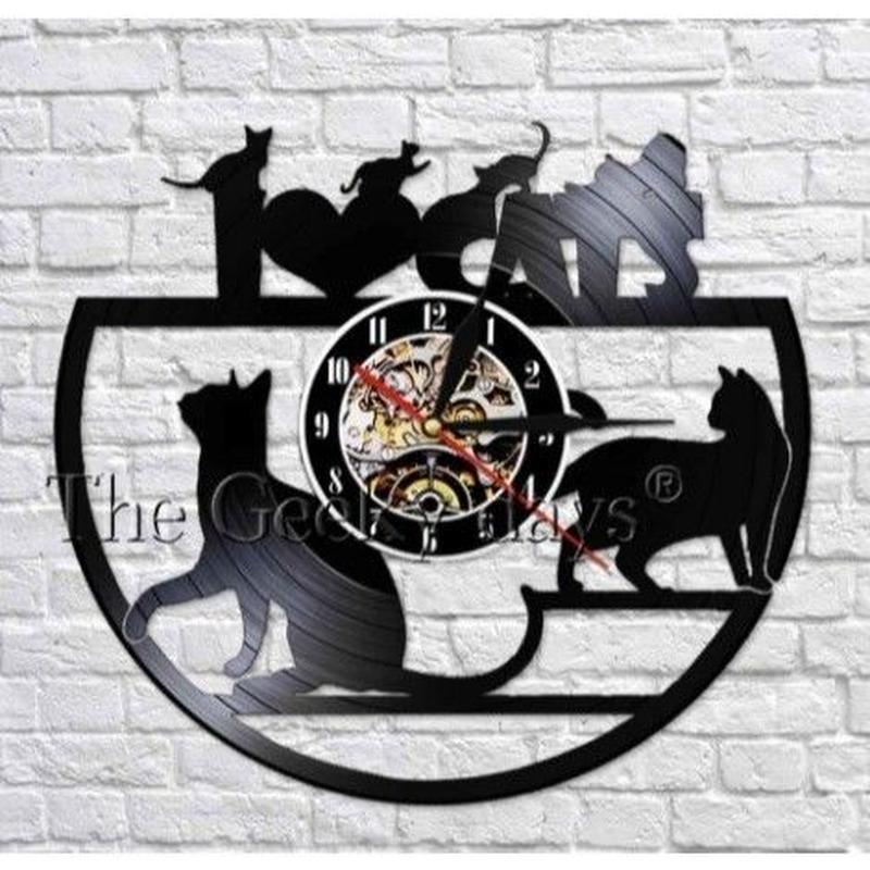輸入雑貨 黒猫 ネコ 猫 キャット 壁アート ヴィンテージ 30cm レコード盤 壁掛け時計 人気  インテリア ディスプレイ 8種類展開 13