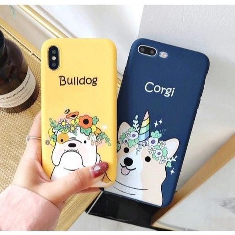 輸入雑貨 フラワー Hat Dog  犬 ケータイカバー iphone XR XsMAX 最大種類 iphone 8 7 6 6 s-plus