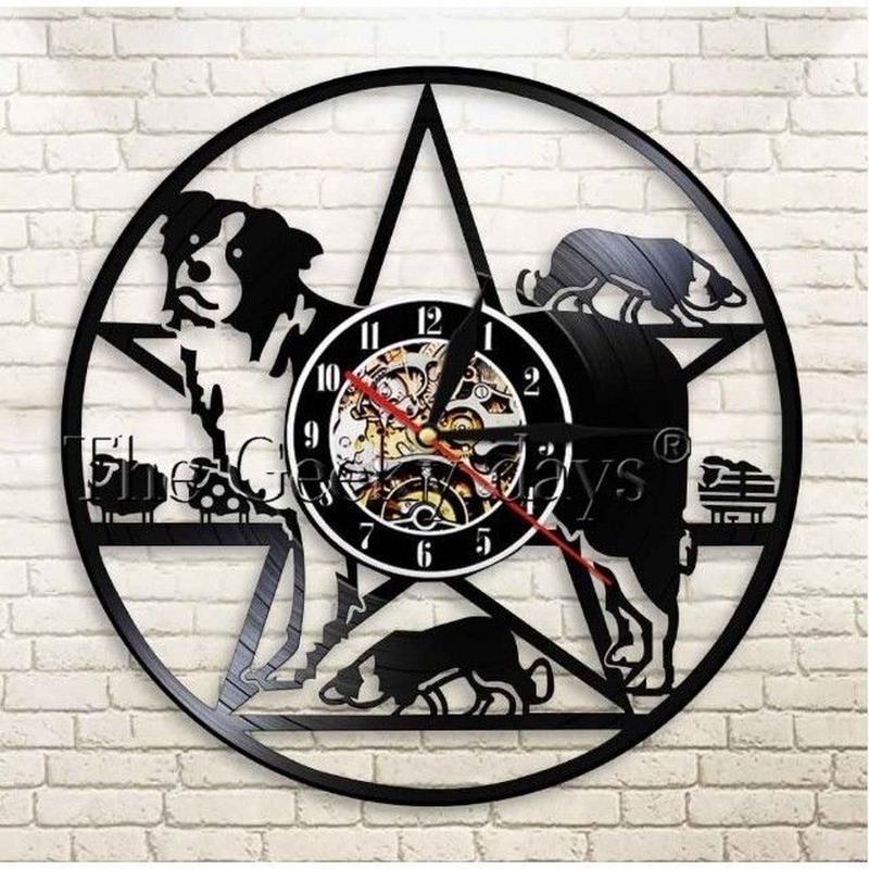 輸入雑貨 ボーダーコリー 犬 ドッグ Dog 壁アート ヴィンテージ 30cm レコード盤 壁掛け時計 人気  インテリア ディスプレイ
