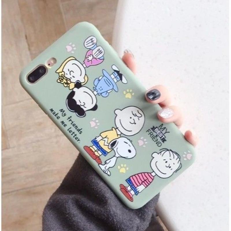 輸入雑貨 スヌーピー ケータイケース snoopy ケータイカバー  iphone XR XsMAX 最大種類 iphone 8 7 6 6 s-plus ピーナッツフレンズ フル  スモークブルー
