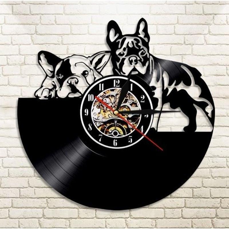 輸入雑貨 フレンチブル ドッグ 犬 Dog 壁アート ヴィンテージ 30cm レコード盤 壁掛け時計 人気  インテリア ディスプレイ 1