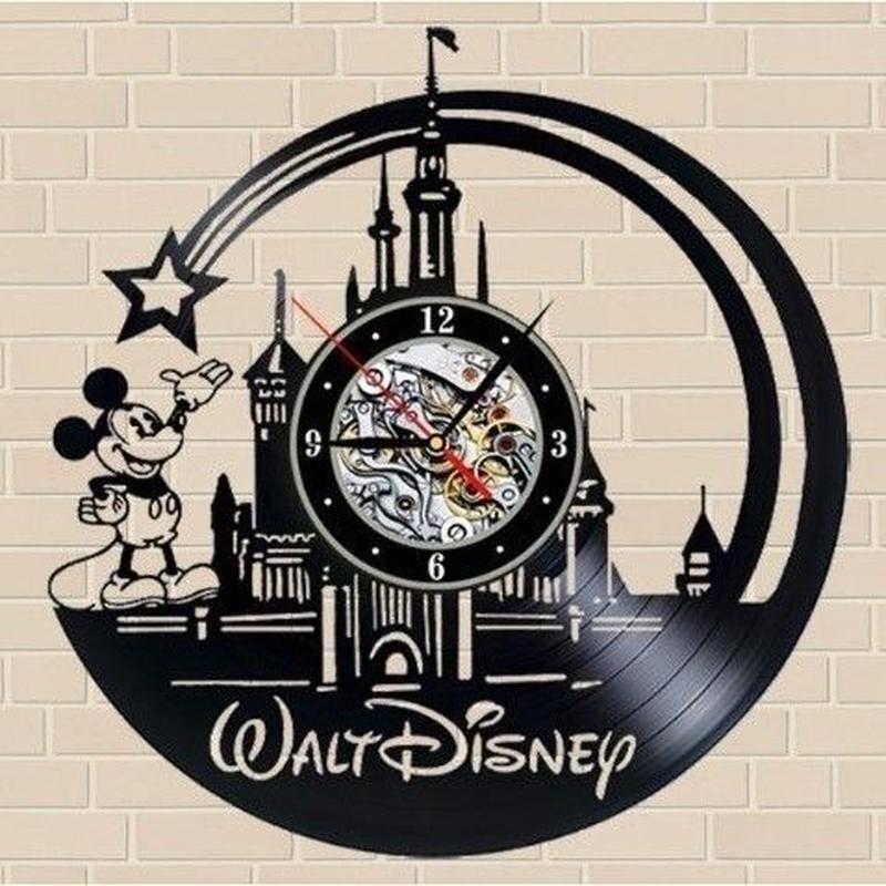 輸入雑貨 ミッキー シリーズ 30cm レコード盤 壁掛け時計 アニメ 映画 人気  インテリア ディスプレイ