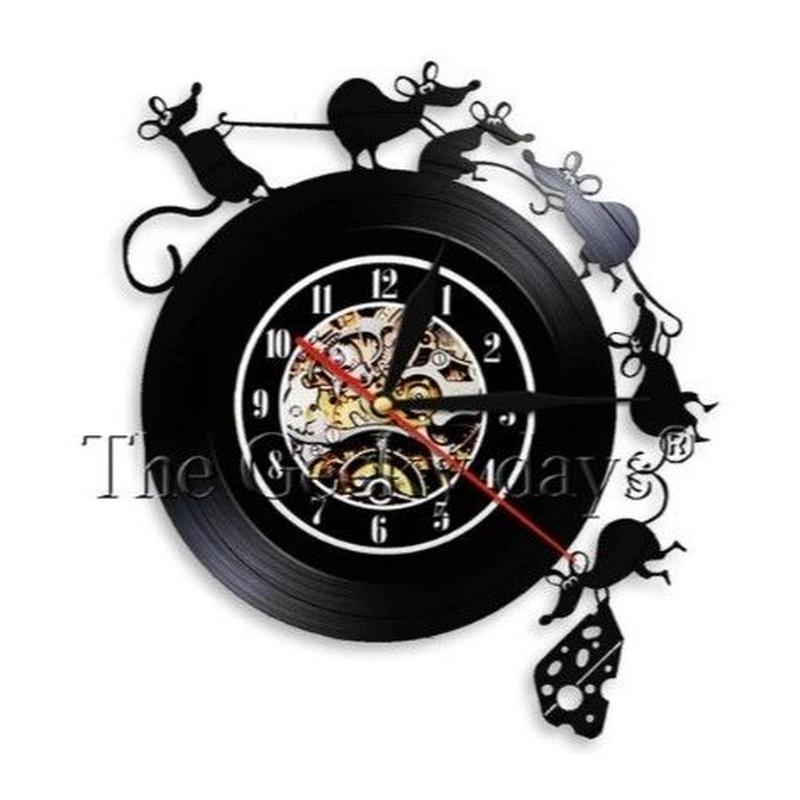 輸入雑貨 ネズミ マウス  壁アート ヴィンテージ 30cm レコード盤 壁掛け時計 人気  インテリア ディスプレイ 2