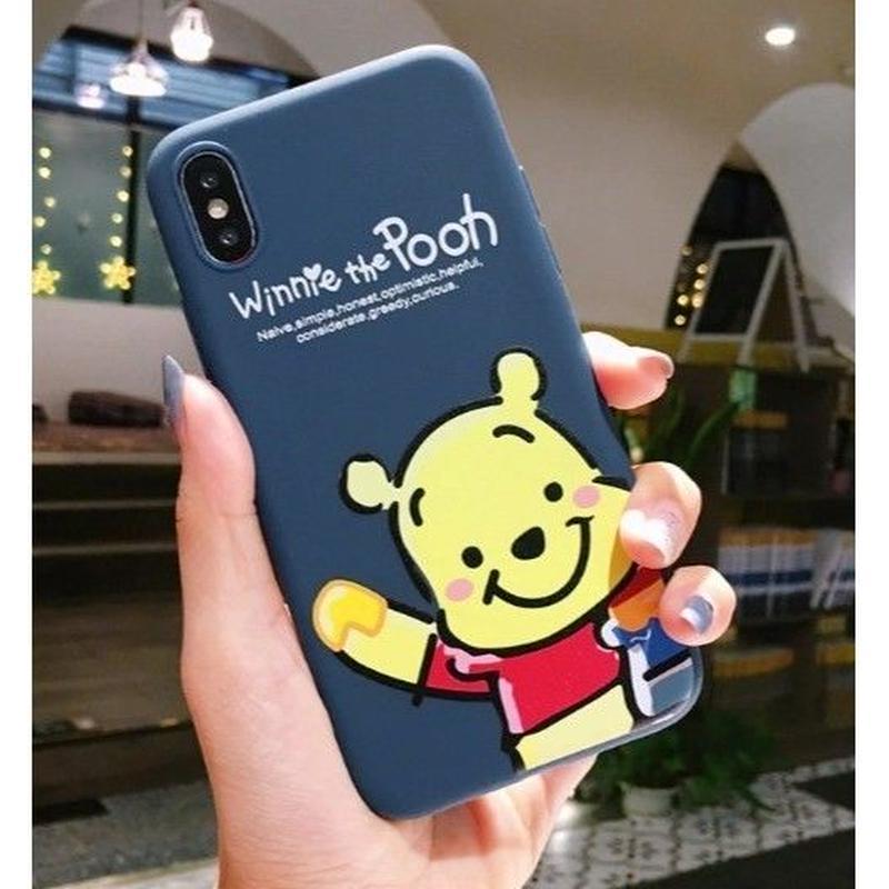 輸入雑貨 プーさん ピグレット ディズニー ケータイカバー  iphone XR XsMAX 最大種類 iphone 8 7 6 6 s-plus プーさんネイビー1