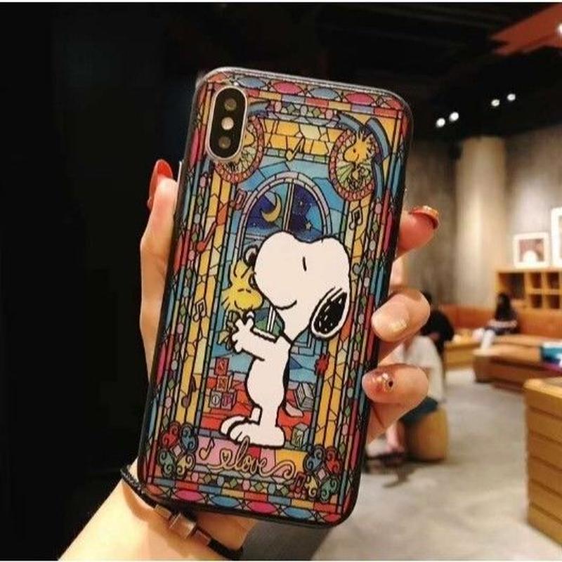輸入雑貨 スヌーピー ケータイケース snoopy ケータイカバー  iphone XR XsMAX 最大種類 iphone 8 7 6 6 s-plus ステンドグラス 1