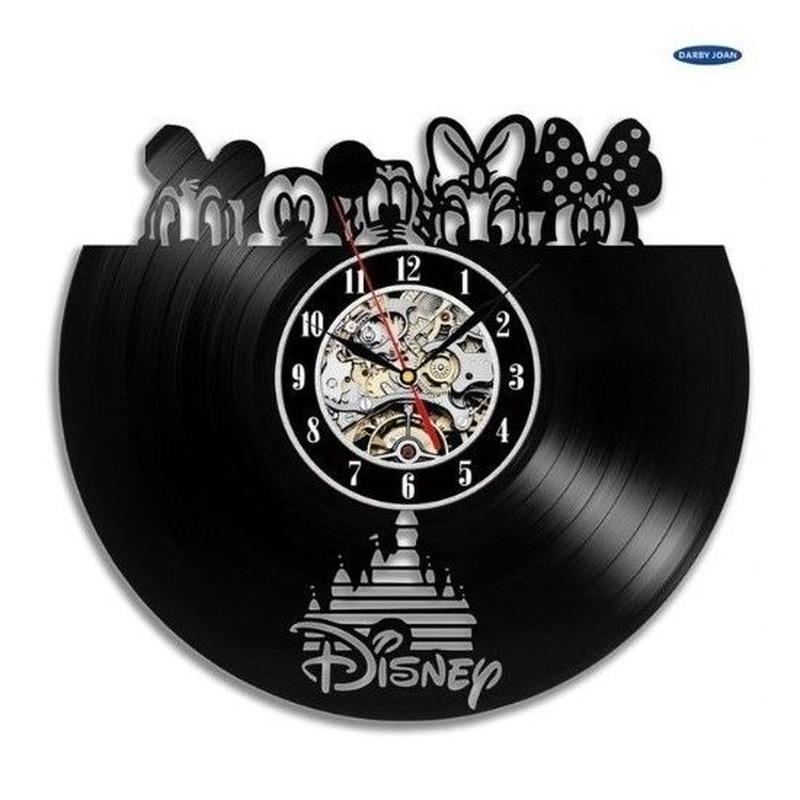 輸入雑貨 ディズニー ミッキー 仲間たち 30cm レコード盤 壁掛け時計 アニメ 映画 人気  インテリア ディスプレイ 3種類展開 3