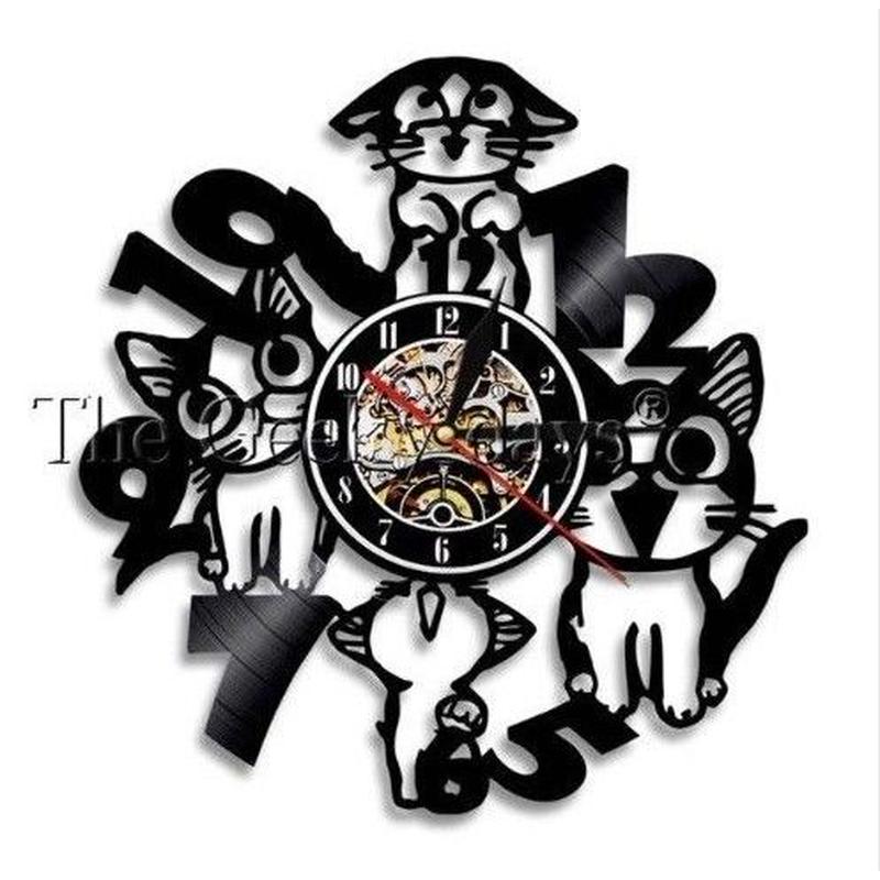 輸入雑貨 黒猫 ネコ 猫 キャット 壁アート ヴィンテージ 30cm レコード盤 壁掛け時計 人気  インテリア ディスプレイ 13種類展開 3
