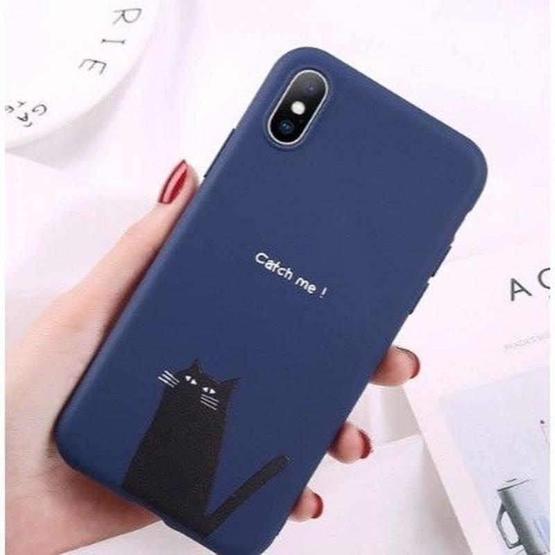 輸入雑貨 シンプルネイビー   iphone XR ケース 最大種類 iphone 8 7 6 5 SE-plus スマホケース  ネコ