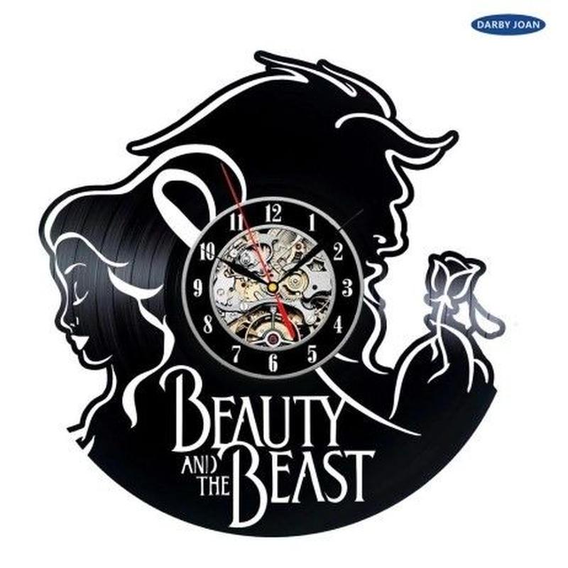 輸入雑貨 美女と野獣 30cm レコード盤 壁掛け時計 アニメ 映画 人気  インテリア ディスプレイ 5種類展開 7