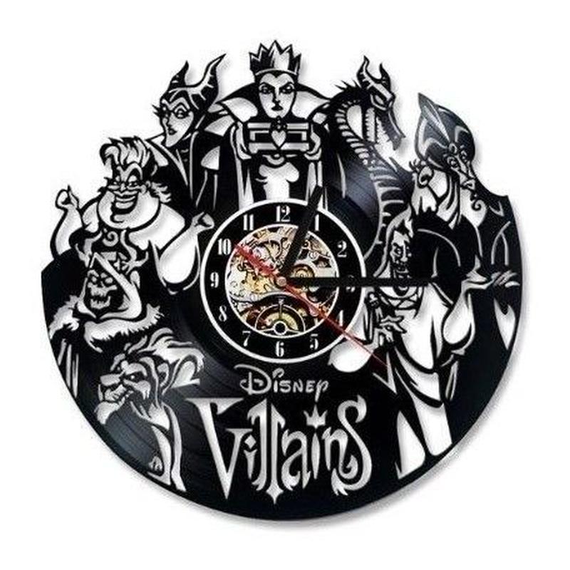 輸入雑貨 ヴィランズ ディズニー 30cm レコード盤 壁掛け時計 アニメ 映画 人気  インテリア ディスプレイ 2種類展開 1