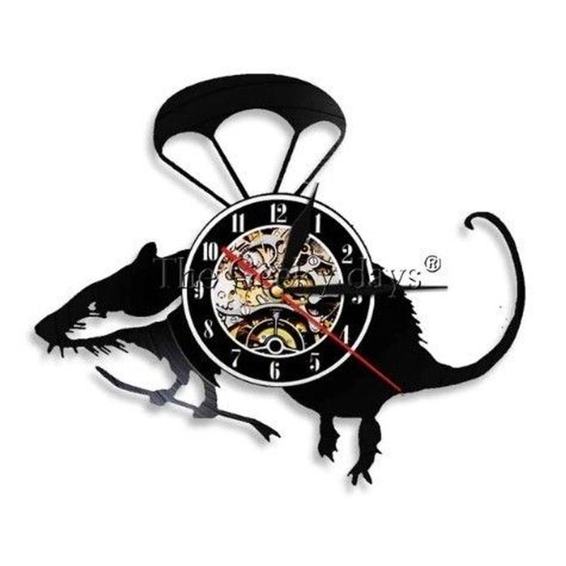 輸入雑貨 ネズミ マウス  壁アート ヴィンテージ 30cm レコード盤 壁掛け時計 人気  インテリア ディスプレイ 1