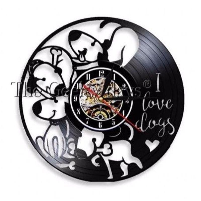 輸入雑貨 I LOVE ドッグ 犬 Dog 壁アート ヴィンテージ 30cm レコード盤 壁掛け時計 人気  インテリア ディスプレイ 3